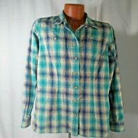 Duluth Trading Company Mens Green and Blue Plaid Shirt Medium