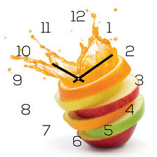 Horloge murale verre 30x30cm Montre PHOTO ORANGE POMME EAU FRUITS cuisine déco