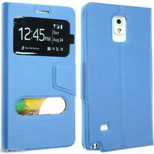SAMSUNG GALAXY NOTE 4 N9100 LEATHER CASE COVER FLIP POUCH DUAL WINDOW SM-N910F