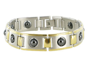 """Men's Two Tone Magnetic Therapy 12mm wide Link Bracelet 8.5"""""""