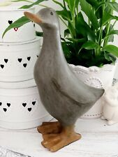 24cm Shabby Vintage Chic Mocha Duck Decorative Sculpture Ornament Figurine Home