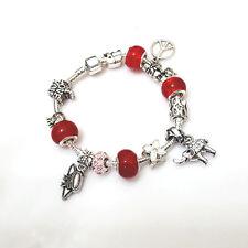 RED Love Peace Elepant Murano Beads Charm Bracelet Masino Collection Bracelet
