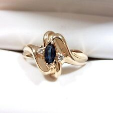 Marquise Blue Sapphire and Diamond Ring 14K Yellow Gold Size 6 1/2