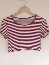 Look Of The Day Red And White Stripped Cropped Top Size 14