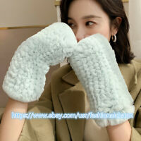 Womens Luxury Real Rabbit Fur Golves Knitted Stretch Fingerless Mittens Gloves