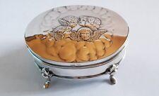 Henry Matthews Sterling Silver Cherub Decorated Footed Trinket Box - 1905