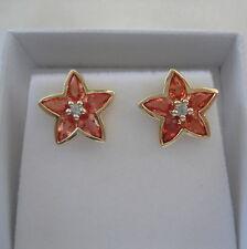 2.21ct Genuine Sri Lankan Padparadscha Sapphire Bezel Set Stud Earrings