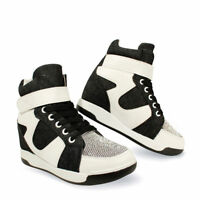 New Womens Ladies Hidden Wedge Lace Up Trainers High Top Sneakers Shoes Size 3-8