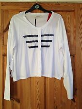 BNWT MAYSAA Ladies Pretty White/Navy Stripe Light Weight Cardigan Size 16