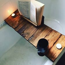 Wooden Bath Caddy Tray Bathtub Board Bath Shelf Wine Tablet Book HolderHandmade