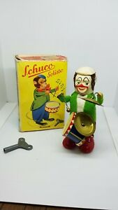Vintage Schuco Drumming Monkey Clown Wind-up Toy with Key c.1950