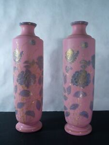 19th Century English pink cased glass vases with beautiful floral enamel-work