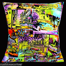 """BRAND NEW Havana Cuba Old Cars bright colours patchwork 16"""" Pillow Cushion Cover"""