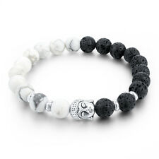 Men Lava Rock&White Howlite Beads with Silver Plated Buddha Head Beaded Bracelet