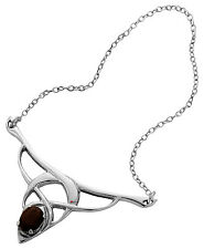Necklace - Sterling Silver Celtic Open Interlace Necklet Set With Smokey Quartz