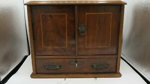 Antique vintage wooden desk table top small cabinet smokers box