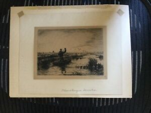 Rare Etching print Duck Hunting 1874-1957 Signed By Roland Clark