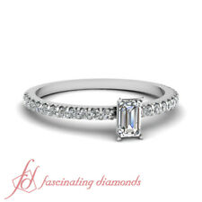 .70 Ct Emerald Cut FLAWLESS Diamond Sparkling Float Engagement Ring Pave Set GIA