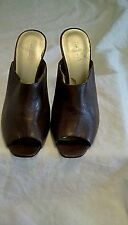 Nine West Sz 9.5M Brown Leather Stiletto Peep Toe Mule!! Free Shipping!!