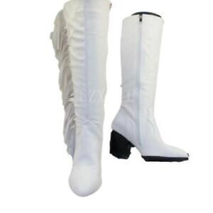 Outdoor Women's Cowboy Pointy Toe Low Heel Outdoor Biker Knee High Boots 42 43 D