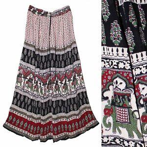 Indian Rayon Crinkle Skirt Ladies 8 Size Dress Women Waist Long Bodycon Uk 3405
