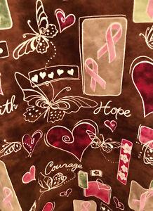 Scrub Top Size XL Womens Pink, White & Brown, Faith,Hope,Courage VALENTINE