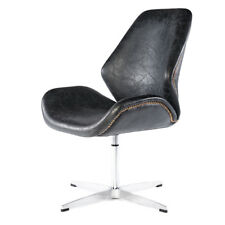 Echtleder Sessel Vintage Ledersessel Schwarz Design Drehsessel Leder Stuhl   667