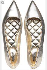 NIB Size 6 Michael Kors Arianna Flat Leather Pale Gold RETAIL $99