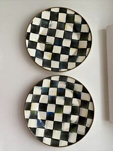 Mackenzie Childs 10 inch Enamel Courtly Check Dinner Plates Lot of 2