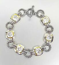 EXQUISITE Silver Cable Rings Clear Topaz CZ Crystal Links Toggle Bracelet