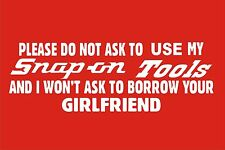 SNAP-ON TOOL BOX WHITE  VINYL DECAL - STICKER--USE-BORROW