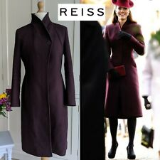 REISS EMILE SHARPLY TAILORED BURGUNDY WOOL COAT JACKET MEDIUM 10 12 14 ASO DOC