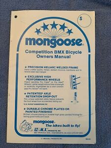 OLD SCHOOL BMX MONGOOSE OWNERS MANUAL