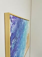Original Beach Abstract Fluid Pour Painting by Trina Louise Fine Art blue & gold