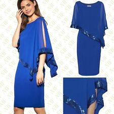 Brand New Gina Bacconi Victoria Sequin Trim Cape Dress in Blue RRP £290 Size 10