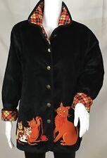 Bob Mackie Wearable Art Womens Black Corduroy Cats Jacket Size XS Plaid Lining