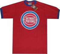 Detroit Pistons Throwback Retro Logo Ringer Red Shirt Majestic Clearance