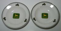 "Set of 2 John Deere Deer Logo Bowl Soup Salad Plate Dish Gibson Green Rim 9"""