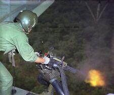 "HH-3 Helicopter crewman fires a mini-gun at enemy 8""x 10"" Vietnam War Photo #45"