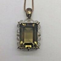 "Sterling Silver 925 Gold Tone Emerald Cut Green Peridot CZ Scallop Necklace 18"""