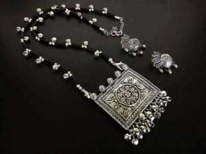 Indian Ethnic Black & Silver Color Necklace Oxidized with Lotus Style Earrings
