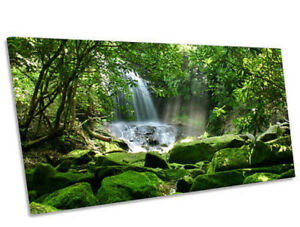 Rain Forest Waterfall Sunrise PANORAMIC CANVAS WALL ART Box Frame