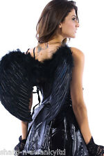 Ladies White Black Red Rainbow Feather Angel Wings Fancy Dress Costume Outfit