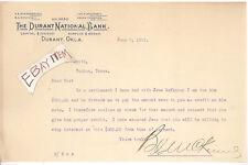 1909 Durant Oklahoma National Bank Charter 5590 SCARBOROUGH McKINNEY THOMPSON