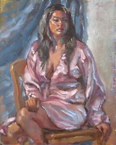 Model in a Pink Satin Robe-original art oil painting by TX artist Melissa Grimes