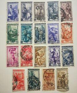 Francobolli Italia 1950 - Italia al Lavoro - Serie Completa 19 valori Usati