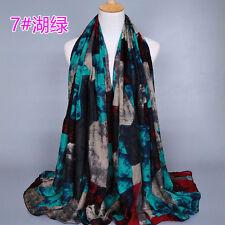 Elegant Generous Fashion Women Long Soft Wrap Lady Shawl Voile Graffiti Scarf