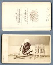 Egypte, Délié au Caire, homme au travail, tourneur de bois CDV, Vintage albumen