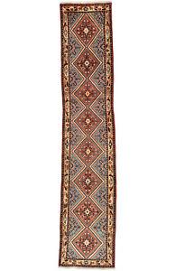 Vintage Persìan Hamadan Runner 3'x12' Red Wool Tribal Hand-Knotted Oriental Rug