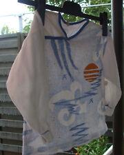 Kinder Schlafanzug im Kimonostil Gr.140 Frottee weiß mit Druckmotiv